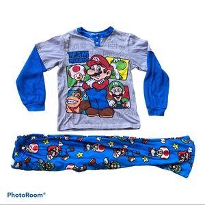 Boys size M SUPER MARIO BROS pajama set fleece